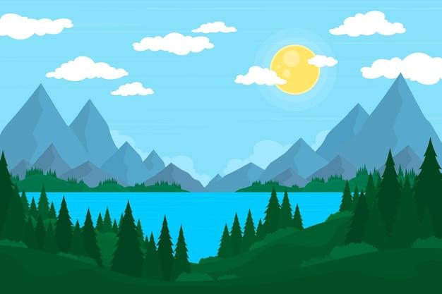 手描きの山の風景