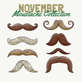 Hand drawn movember awareness mustache collection
