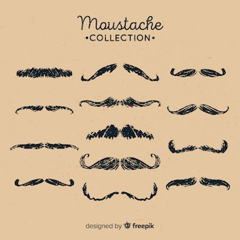 Hand drawn movember mustache collection in different shapes