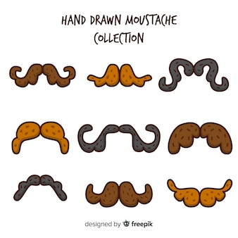 Hand drawn movember mustache collection