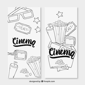 Hand drawn movie accessories banners