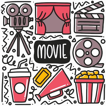 Hand drawn movie dating doodle set with icons and design elements