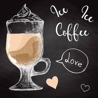 コーヒードリンクと手描きのマグカップ。黒板に描く。スケッチスタイルのベクトルイラスト。