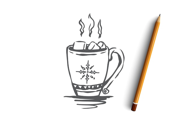 Hand drawn mug with hot drink concept sketch