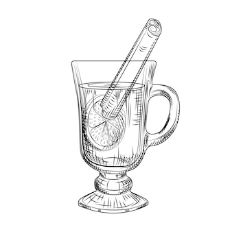 Hand drawn mulled wine isolated. mulled wine glass drawing sketch