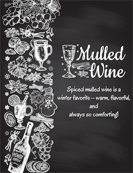 Hand drawn mulled wine poster. black and white sketch with wine glass. menu cards design templates in retro vintage style on black background