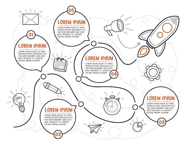 로켓으로 손으로 그린 다목적 infographic 템플릿입니다. 텍스트 상자가 있는 5단계는 흰색 배경의 타임라인에 사용할 수 있습니다. 벡터 일러스트 레이 션.