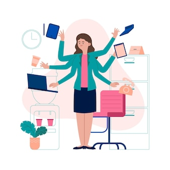 Hand drawn multitask business woman illustrated