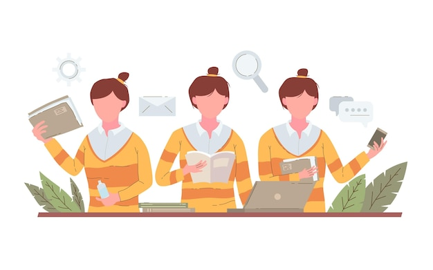Hand drawn multitask business woman illustration