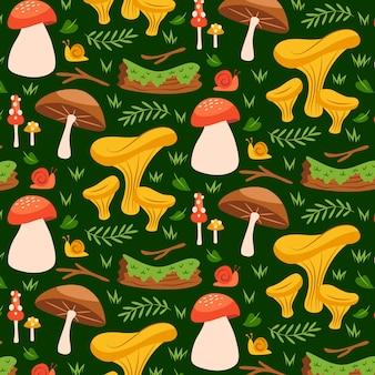 手描きのキノコと植物のパターン