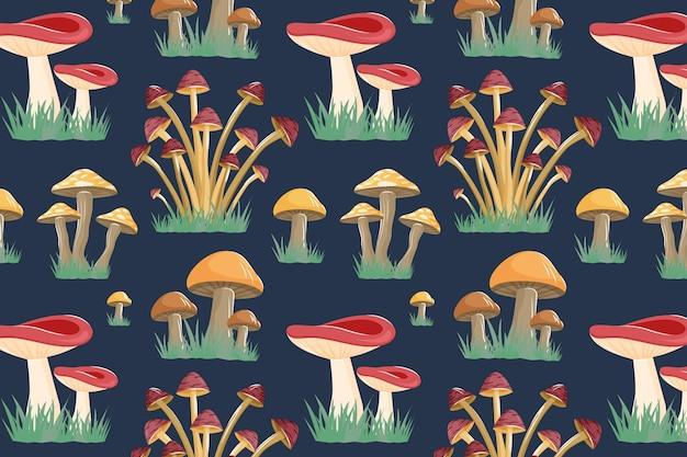 손으로 그린 된 버섯 컬렉션 패턴