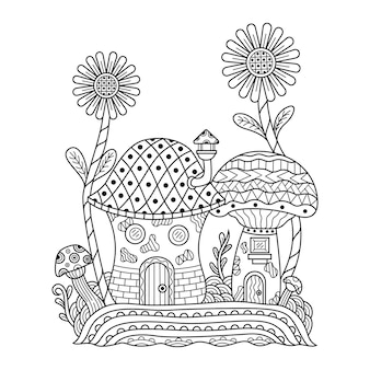 Hand drawn of mushroom home in zentangle style