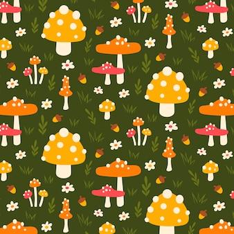 Modello disegnato a mano di funghi e foglie