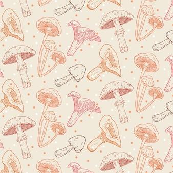 손으로 그린 버섯 패턴 패브릭