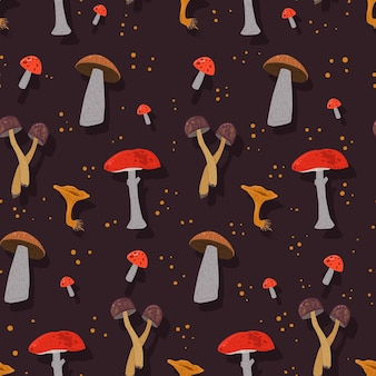Hand drawn mushroom pattern textile