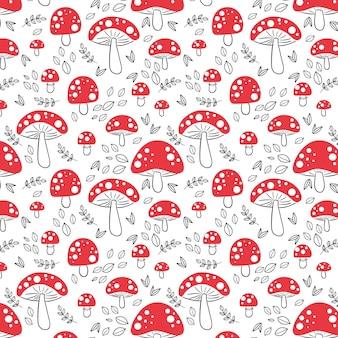 손으로 그린 된 버섯 패턴 무료 벡터
