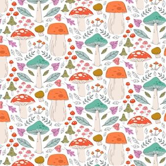 Modello di funghi disegnati a mano