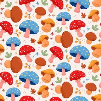 손으로 그린 된 버섯 패턴