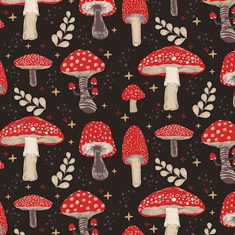 Hand drawn mushroom pattern
