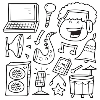 Hand drawn music doodle cartoon coloring design