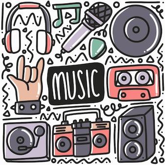 Ручной обращается музыкальный каракули с иконами и элементами дизайна