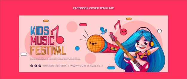 Copertina facebook del festival musicale disegnato a mano