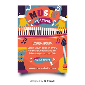 Hand drawn music festival poster template
