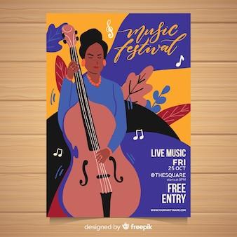 손으로 그린 음악 축제 포스터 템플릿