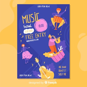 Hand drawn music festival poster with free entry
