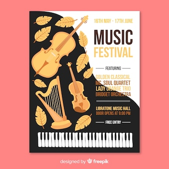 손으로 그린 음악 축제 포스터