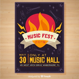 Hand drawn music festival poster