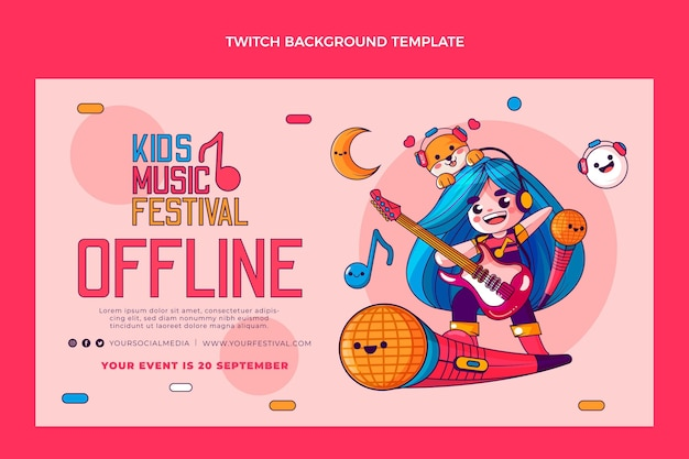 Hand drawn music festival twitch background