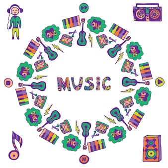 Hand drawn music frame. music doodle colorful icons. template for flyer, banner, poster, cover