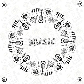 Hand drawn music frame. musical sketch icons . template for banner, poster, brochure, cover, festival or concert