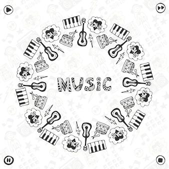 손으로 그린 음악 프레임. 뮤지컬 스케치 아이콘입니다. 배너, 포스터, 브로셔, 표지, 축제 또는 콘서트를위한 템플릿