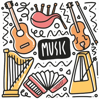 Hand drawn musical instrument doodle set with icons and design elements