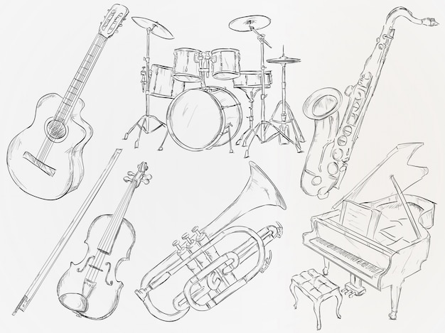 Hand drawn musical instrument