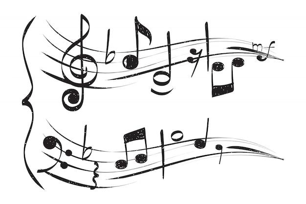 손으로 그린 음표. 직원 고음 음자리표 흰색 배경 음악가