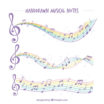 Hand-drawn musical notes with colorful staves