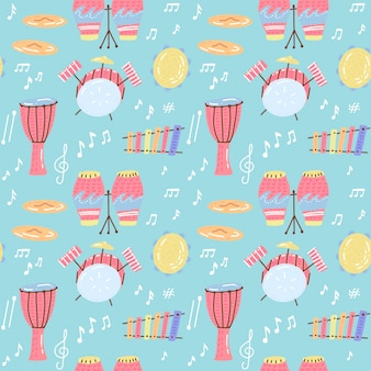 Hand drawn musical seamless pattern with drums