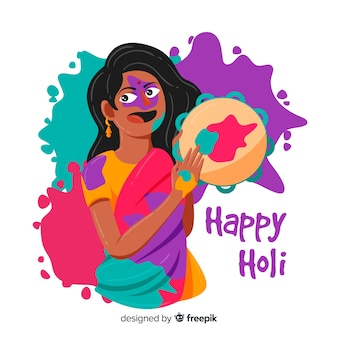 Hand drawn musician holi festival background