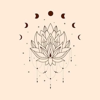 달의 위상과 별이 있는 손으로 그린 신비하고 마법의 연꽃