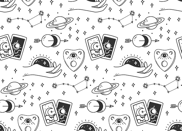 Hand drawn mystic astronomy seamless pattern