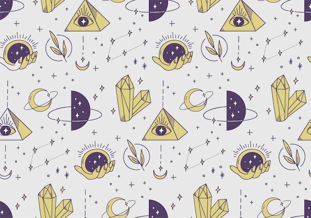 손으로 그린 된 신비한 천문학 원활한 패턴