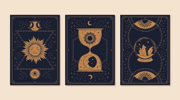 Collezione di carte dei tarocchi mistica disegnata a mano
