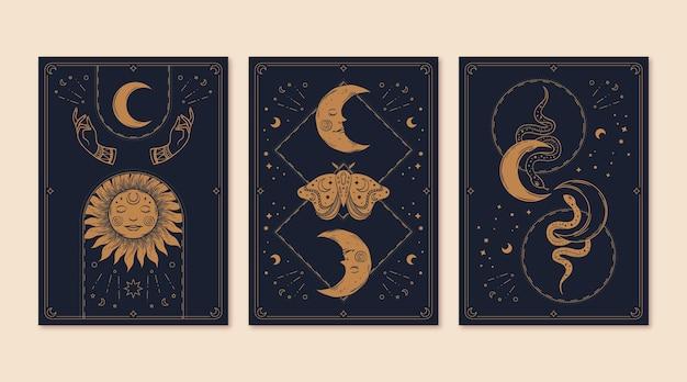 Коллекция рисованной мистических карт таро