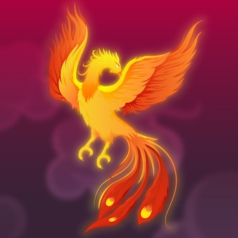 Hand drawn mythical phoenix