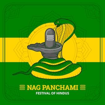 Illustrazione disegnata a mano di nag panchami
