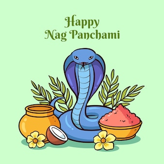Hand drawn nag panchami illustration
