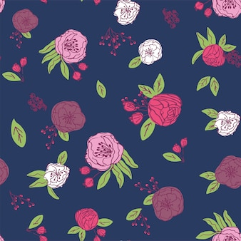 Hand drawn naive floral seamless pattern vector